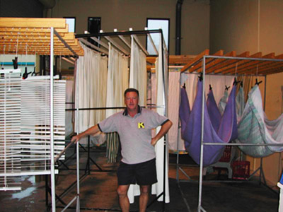 Kleena's drying area. Rolling racks can be wheeled into their Drye Rite XL (see below).