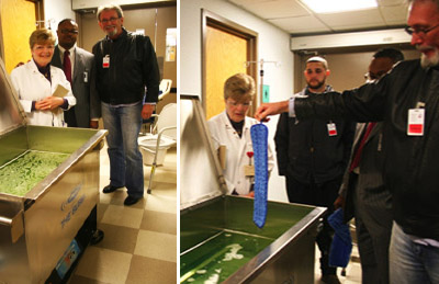 "Mick demonstrates the cleaning capabilities of Morantz Ultrasonics at a hospital with the portable Z-56 ""Bubba"""
