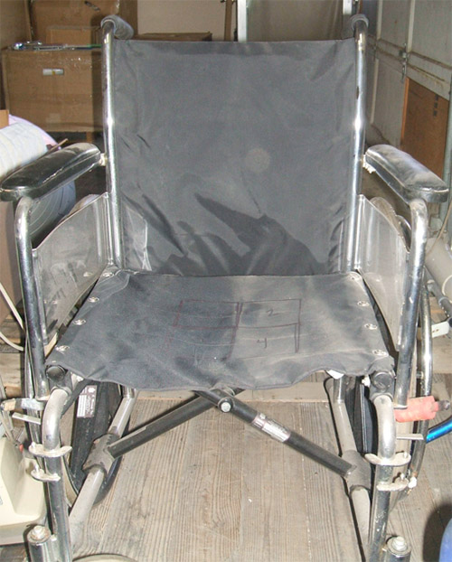 Wheelchair Prepped for Cleaning and Testing.