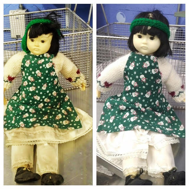 Before and After: A doll cleaned with Morantz Ultrasonics