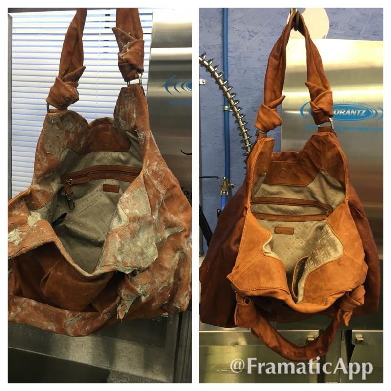 Leather handbag before and after ultrasonic cleaning