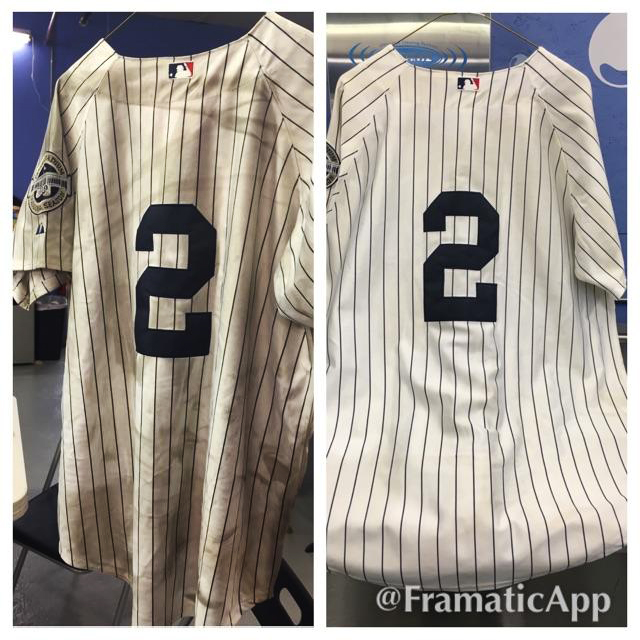 Before and After photo of a soot damaged sports jersey, a cherished possession of one of Gadue's customers