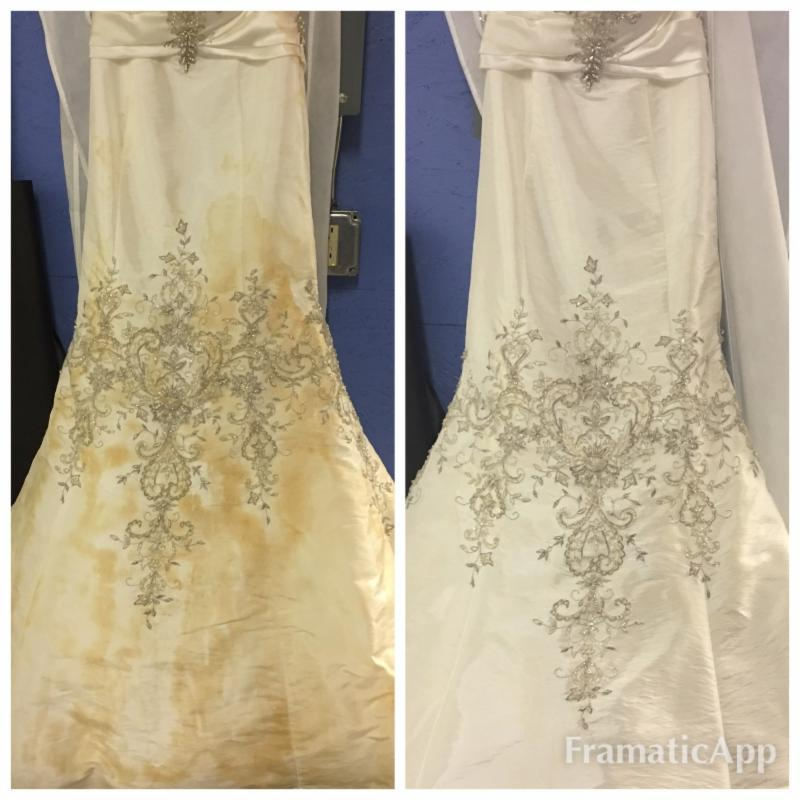 This wedding dress had wine stains sitting on it for 4 years! Amazing before and after photographs of ultrasonic cleaning results