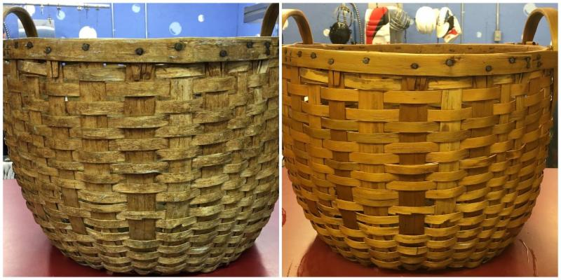 Wicker basket before and after ultrasonic cleaning